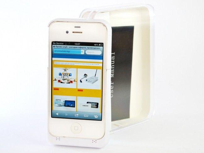 Батерия - калъф за Apple iPhone 4 / 4S черен или бял с ПОДАРЪК кабел за зареждане ~220V