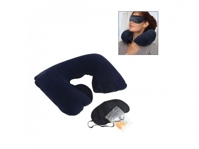 Комплект за пътуване от 3 части: възглавничка, маска за релакс и тапи за уши