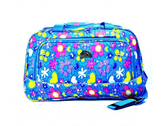 Атрактивна пътна чанта BRONCO 462 BLUE FLOWERS