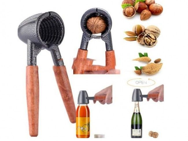 Уникална ръчна орехотрошачка с пружина - за всеки размер ядки. Отваряне и на бутилки