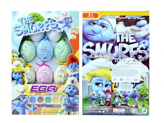Луксозен комплект от 8 яйца СМЪРФОВЕ за боядисване, водни боички, четка и поставки-ПОДАРЪК