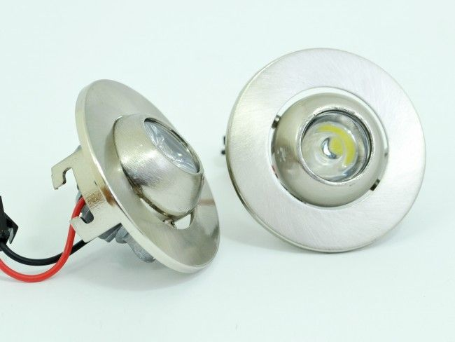2 броя насочващи се кръгли метални иноксови LED лунички  2 x 1 W, ~AC 90~240V, 6000k
