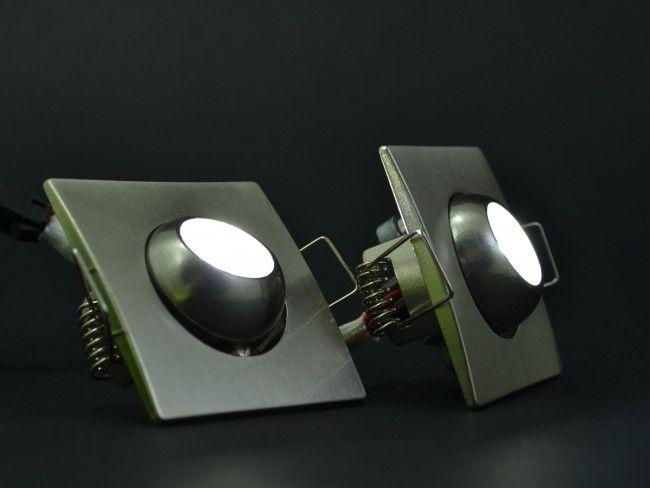 СУПЕР ПРОМО: 2 насочващи се квадратни LED лунички  2x1W, ~AC 90~240V, 6000k бяла светлина
