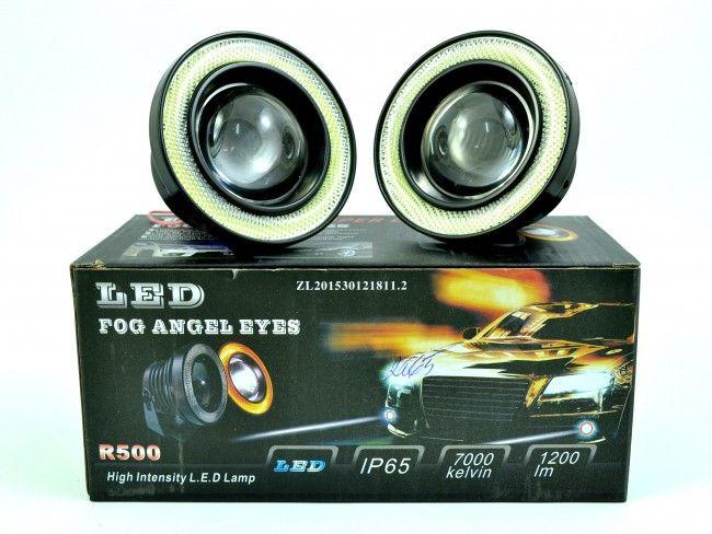 Невероятни LED фарове за мъгла 10W ЛУПА 89 мм с ANGEL EYES ринг А2065