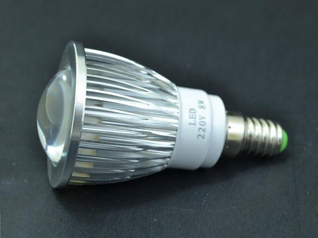 Мощна алуминиева LED крушка Е14 миньонка 8W с оптична лупа 750 Lm, AC ~220V, 6500K студена