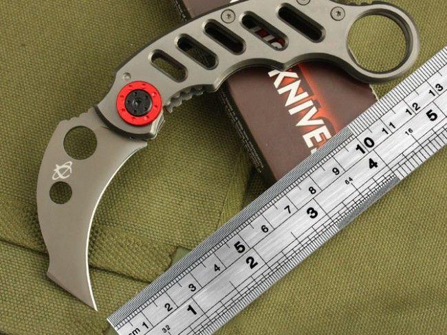 Маниашки сгъваем нож MANTIS X05 RED KARAMBIT МК2  - MANTIS KNIVES в подаръчна кутия