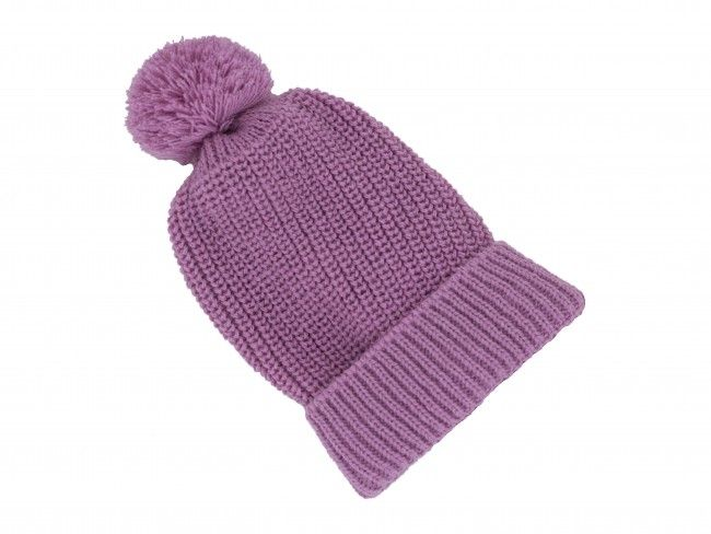 Плетена топла и мека детска шапка класическа с един помпон - в различни цветове