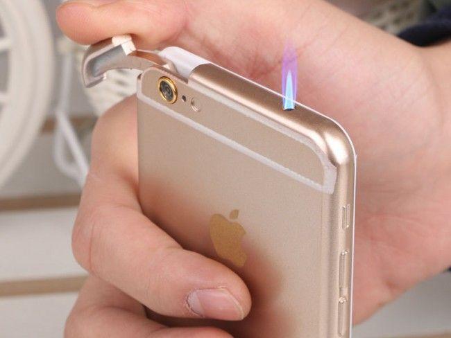 Супер атрактивна запалка iPhone 6 на газ- перфектно копие с вградено LED фенерче