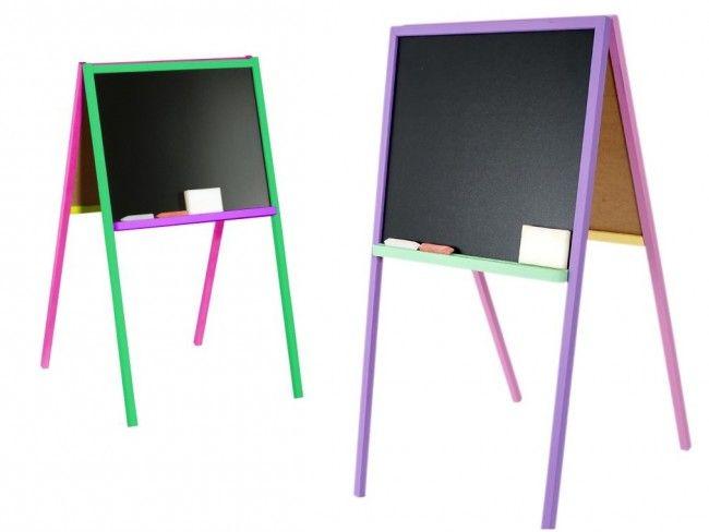 Двустранен цветен статив GREEN_PINK за рисуване с тебешир и white board  флумастер