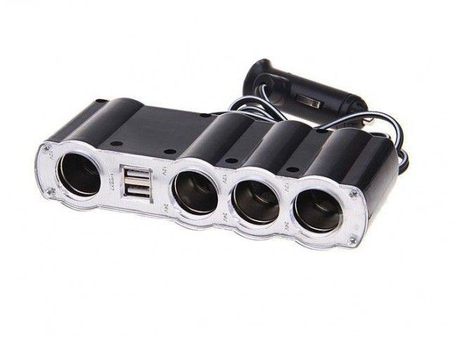 Разклонител за запалка с четири гнезда - 4х 12V-24V + 2x USB 5V - WF 4008