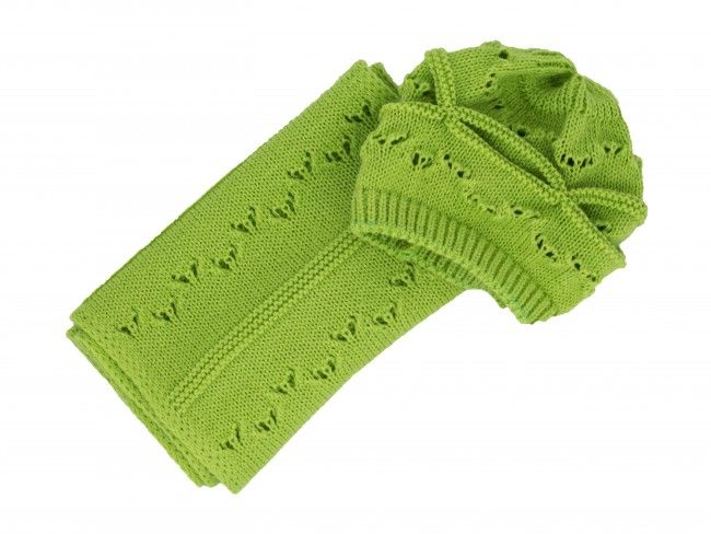 Плетени топли и меки детски комплект шал и шапка с дупки за момиченце - в различни цветове
