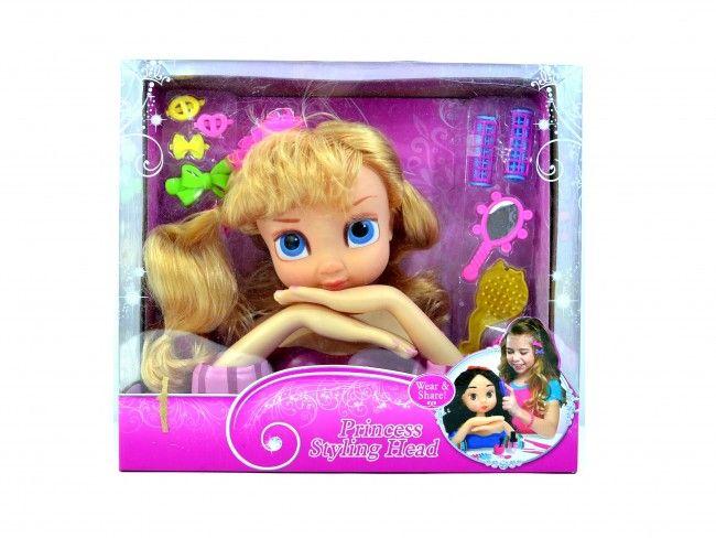 Голяма кукла принцеса- блонндинка за прически и стайлинг Princess Styling Head, 3+ години