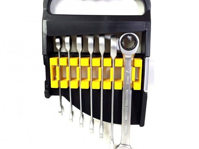 Kомплект от 7 броя звездогаечни ключове с вградени тресчотки и ПОДАРЪК кейс за съхранение