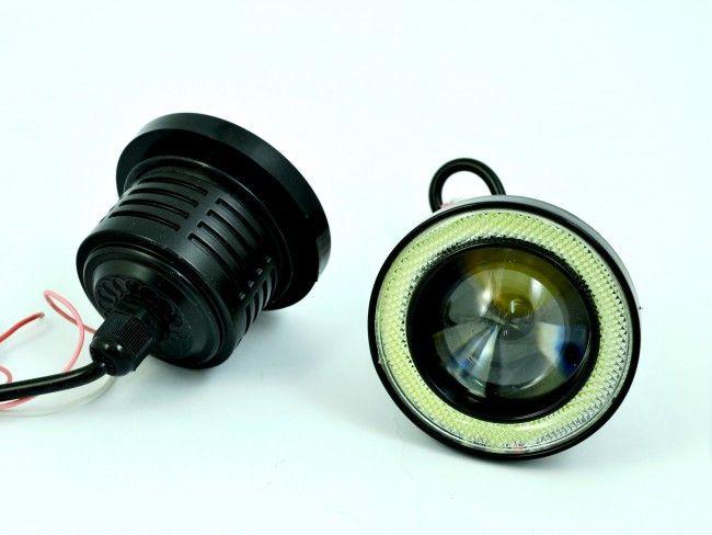 Невероятни LED фарове за мъгла 10W ЛУПА 76 мм с ANGEL EYES ринг А2064