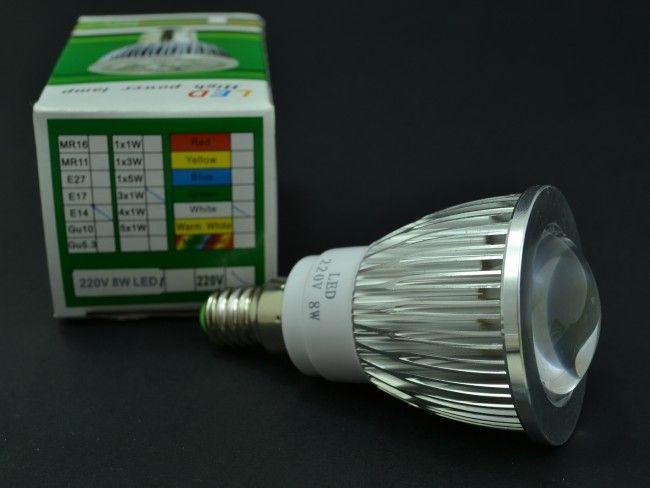 LED крушка 8W ~85-265V миньонка Е14 - алуминиево тяло, лупа и 6000К  бяла светлина