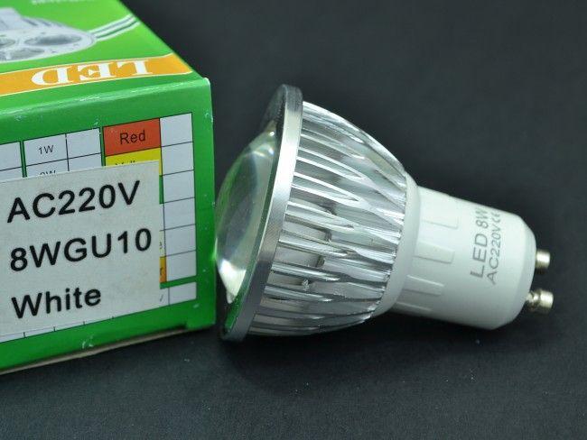 Мощна алуминиева LED крушка спот GU10 8W с оптична лупа 750 Lm, AC ~220V, 6500K студена