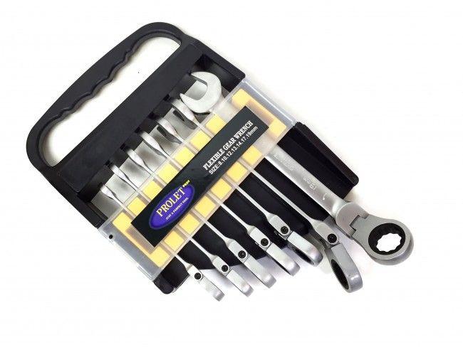 Комплект от 7 броя звездогаечни ключове с вградени тресчотки, чупещи рамена и ПОДАРЪК кейс