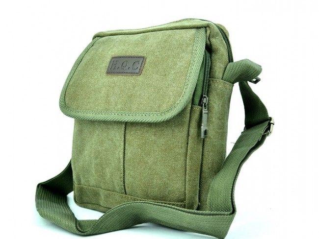 H.Q.C. GREEN 5320- брезентова чантичка за през рамо