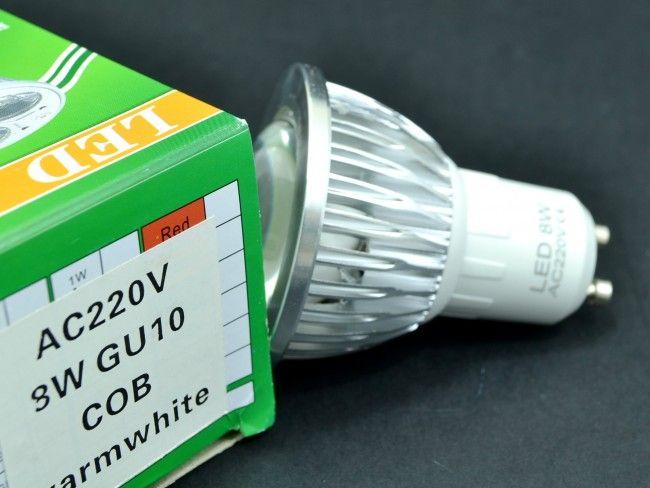 Мощна алуминиева LED крушка спот GU10 8W с оптична лупа 750 Lm, AC ~220V, 2700K топла