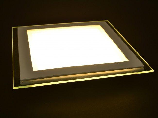 LED осветително тяло 18W за вграждане със стъклен ринг, топла жълтеникава светлина 3000К