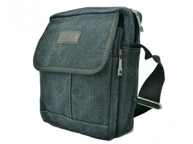 H.Q.C. BLACK 5320- брезентова чанта за през рамо