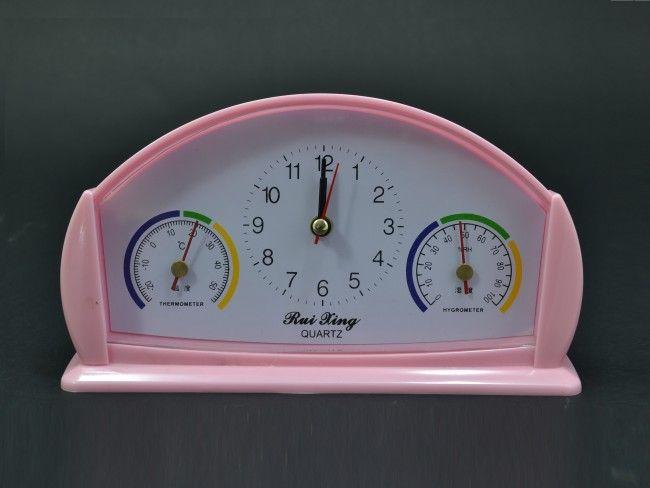 Електро-механичен часовник-будилник 6789, с влагомер и термометър, 1 батерия АА