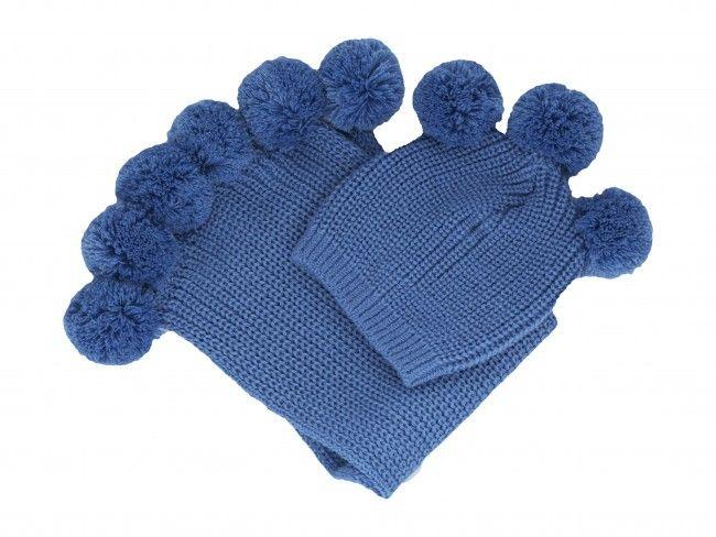 Плетени топли и меки детски комплект шал и шапка с помпони за момченце