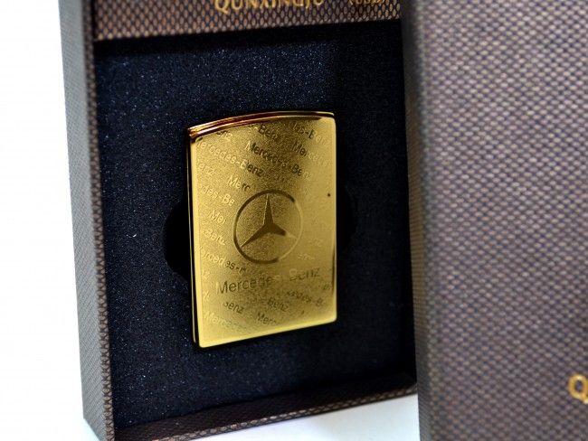 Луксозна ел. запалка Mercedes GOLD с вградена презареждаема батерия и в подаръчна кутия