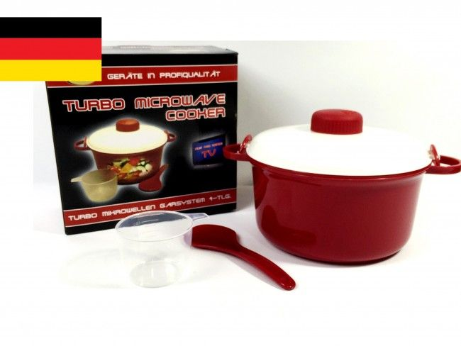 Немска тенджера за микровълнова фурна Turbo microwave cooker RED