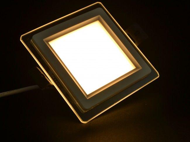 LED осветително тяло за вграждане, стъклен ринг с висока светимост 6W 3000K жълта светлина