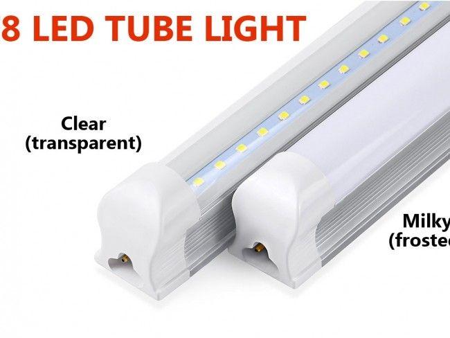 LED осветително тяло тип ПУРА T8 с алуминиев гръб и прозрачно стъкло 60 см, 9W, 1000Lm