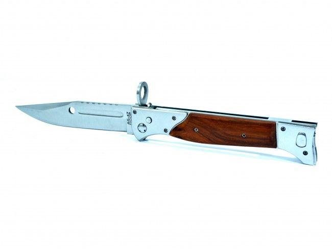 Огромен сгъваем тежък армейски нож-щик AK-47 Калашников СССР в калъф за колан-726A дърво