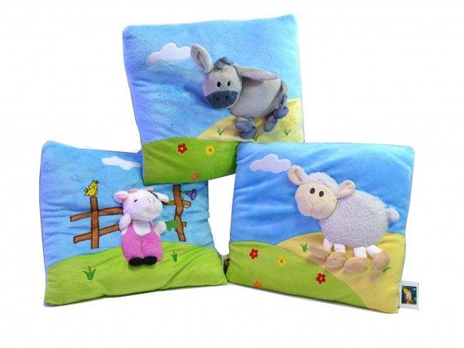 Ултра мека и нежна детска възглавничка L6074 кравичка, овца, магаренце