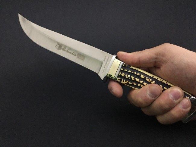 Ловен нож COLUMBIA USA G11 GOLD BONE с кокалена дръжка и златен обков