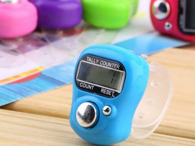 Електронен брояч с регулируема верижка за пръст и бутон за нулиране