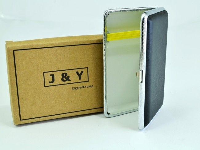 Елегантна компактна табакера J&Y P16L с кожена повърхност - 14-16 цигари 100 mm