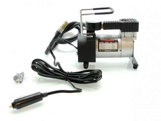 Мощен компактен едноцилиндров автокомпресор за помпане на гуми