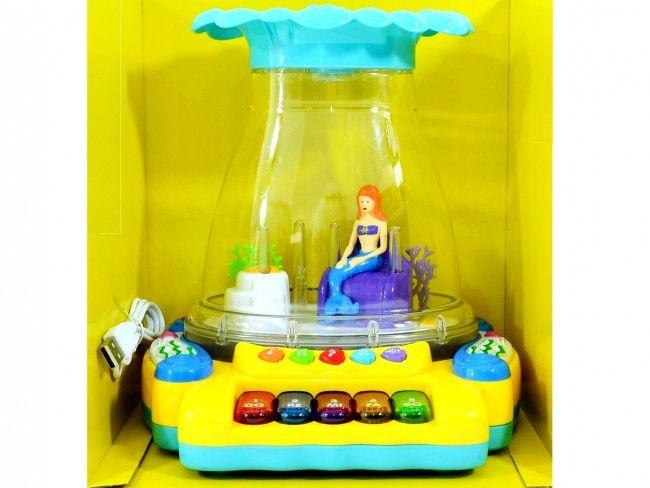 Страхотен пеещ, цветен аквариум с красива русалка