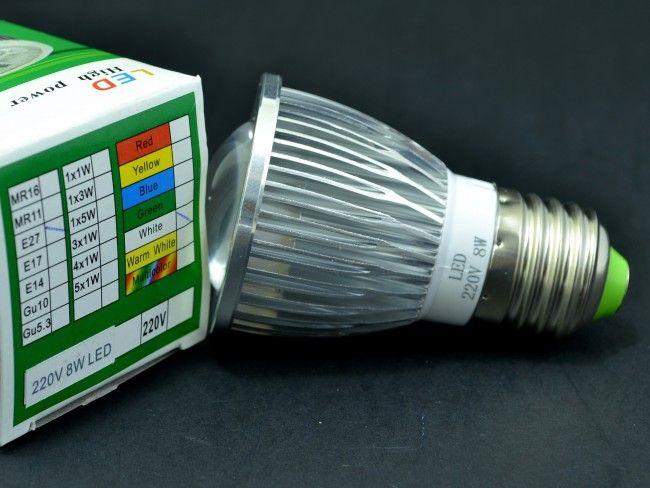 Мощна алуминиева LED крушка спот Е27 8W с оптична лупа 750 Lm, AC ~220V, 6500K студена