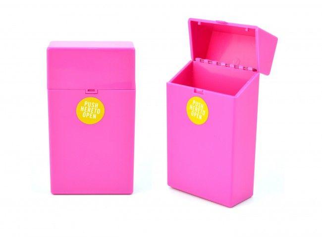 Пластмасов калъф за кутия за цигари 100мм. с автоматично пружинно отваряне РОЗОВО 089
