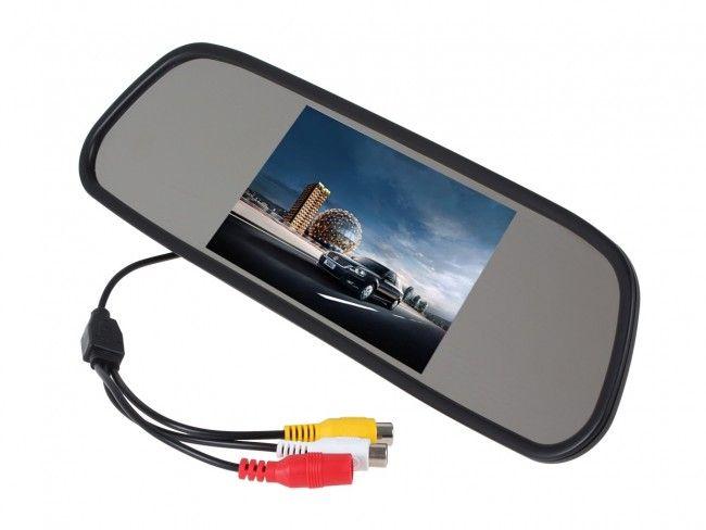 Огледало с вграден TFT LCD 4.3 инча цветен дисплей за камера за заден ход и паркиране