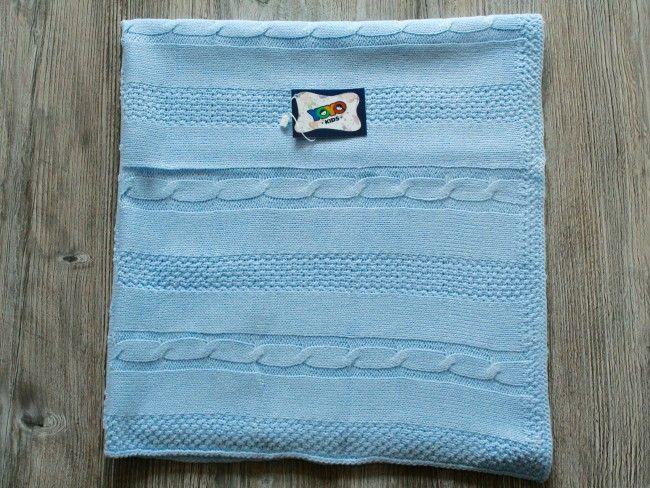 Топло антиалергично плетено бебешко одеяло Yo Yo Kids 90 х 90 см- СВЕТЛО СИН, 122
