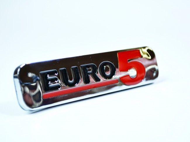 Луксозна самозалепваща хромирана табела EURO 5 - голям размер 170х50 мм