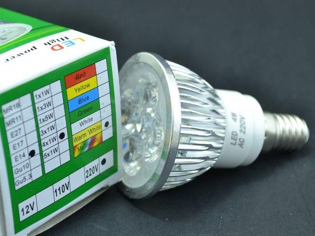 Алуминиева LED крушка - спот Е14 миньонка 4х1W 300 Lm, AC ~220V, 2700K топла