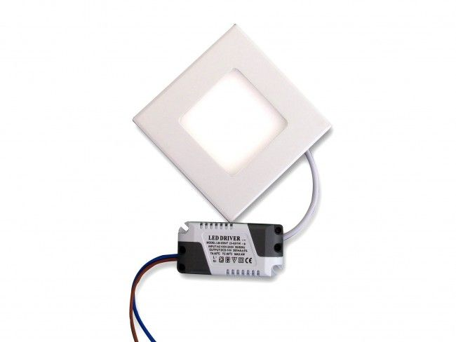 Квадратно LED осветително тяло - висока светимост и консумация 6W, аналог на 75W крушка