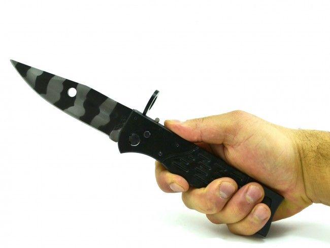 Голям автоматичен сгъваем нож - щик AK-47 с калъф и метална дръжка 726B-черно