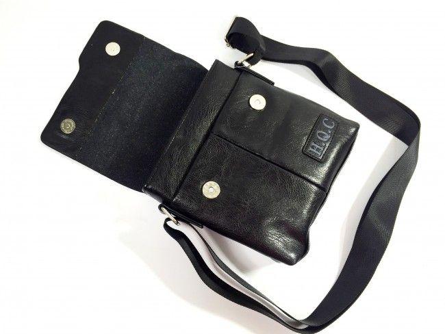 Мъжка кожена чанта за през рамо H.Q.C 31462 BLACK