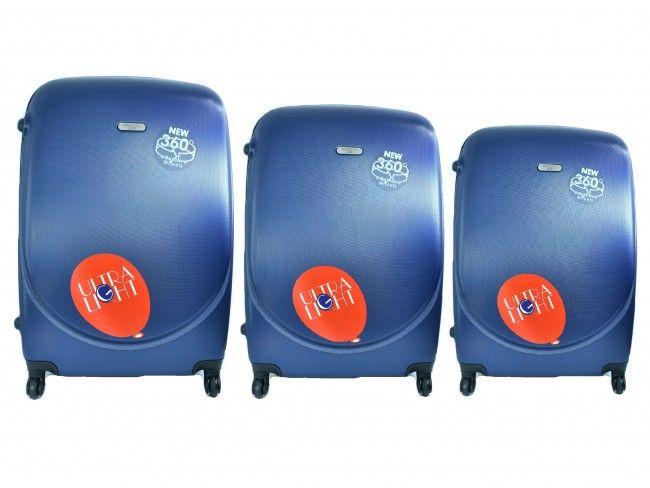 Луксозен комплект от 3бр.пътнически куфари 1217 BLUE от най-висок клас