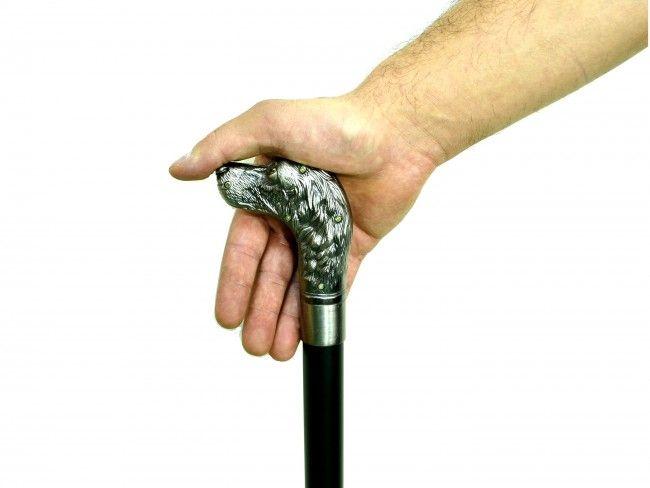 Елегантен бастун с метална дръжка глава на куче и вграден кинжал 40 см