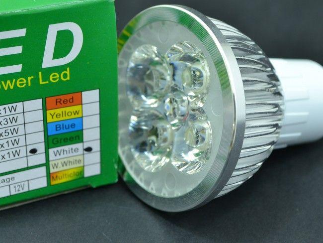 Алуминиева LED крушка  GU10 4x1W 270 Lm, AC ~220V, 6500K студена бяла светлина, 40°, Ф50